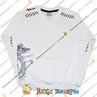 Белый спортивный батник с мысом для подростков от 10 до 16 лет (4058-3)