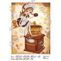 Ткань с рисунком для вышивки бисером Фея вкусного кофе