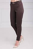 Качественные женские брюки коричневого цвета, с завышенной талией