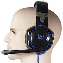 Стерео гарнитура KOTION G2200 черно-синяя для компьютера ноутбука игровая USB с микрофоном универсальная, фото 2