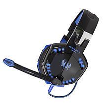 Стерео гарнитура KOTION G2200 черно-синяя для компьютера ноутбука игровая USB с микрофоном универсальная, фото 3