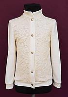 Пиджак на кнопках для девочки молочный р. 116-128