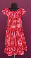 Подростковое платье для девочки крестьянка р.134-146 красный в горох
