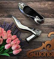 Зеркальные туфли лодочки Dune на каблуке-колонне  SH2822