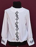 Нарядная блузка для девочки белая с вышивкой р.116-140