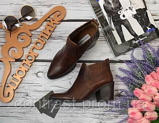 Стильные кожаные ботинки Steve Madden со скошенным каблуком  SH2864
