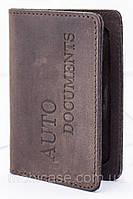 """Обкладинка для пластикових документів водія VIP (антик темний шоколад) тиснення """"Auto Documents"""""""