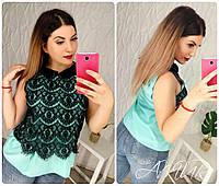 Блузка цветная с декором из кружева