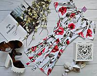 Летнее платье «Трансформер» три варианта носки, с поясом супер яркий принт: маки+ромашки белый