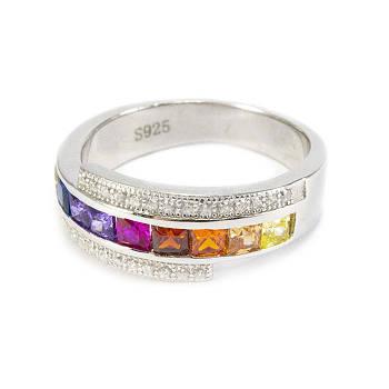 Серебряное кольцо с разноцветными фианитами Арт. RN002SV (16)