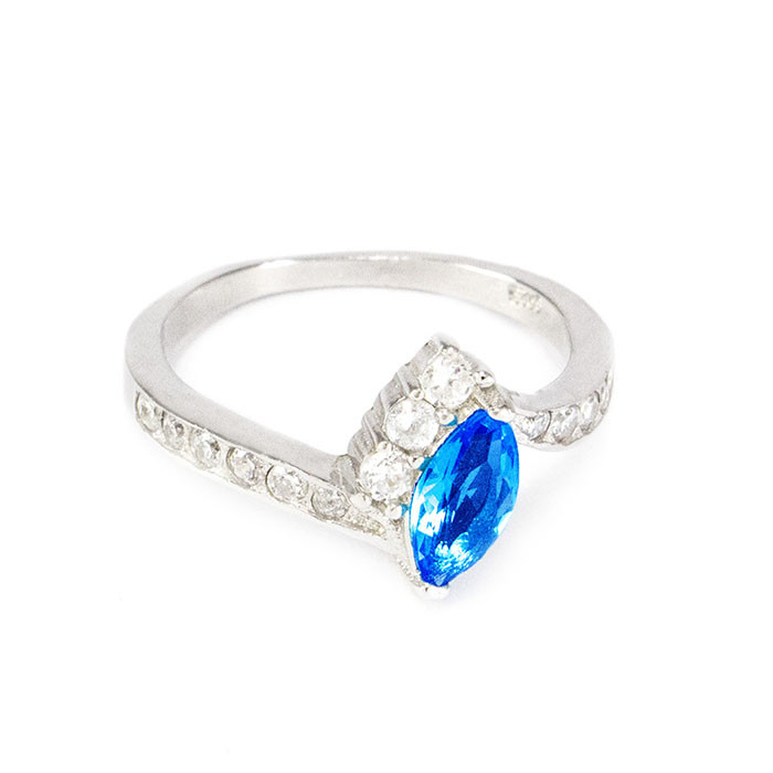 Серебряное кольцо с синим фианитом Арт. RN004SV (16)