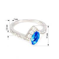 Серебряное кольцо с синим фианитом Арт. RN004SV (16), фото 3