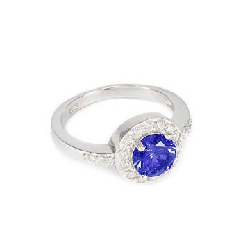Серебряное кольцо Ореол с синим фианитом Арт. RN006SV (16)