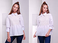Рубашка с прошвой в стиле кежуал  «Афина»