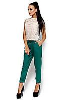 Летние брюки-дудочки из габардина, зелёные, размер 42-48