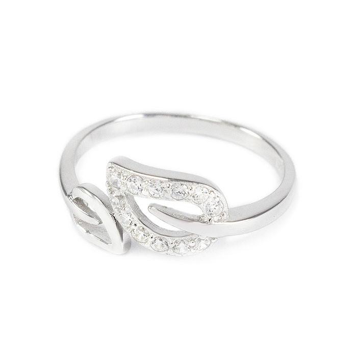 Серебряное кольцо Листочки с фианитами Арт. RN009SV (16)