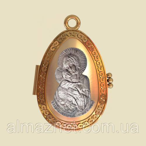 Золотая ладанка Владимирская икона Божией Матери