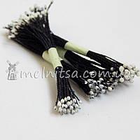 Тычинки для цветов тайские, белые на черной нитке
