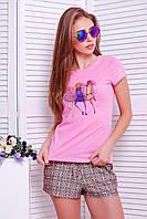 Стильная футболка с принтом «Girls» pink