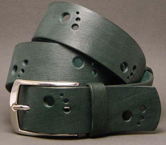 """Стильный мужской ремень из натуральной кожи """"Шаги"""" 35 мм F35021С зеленый"""
