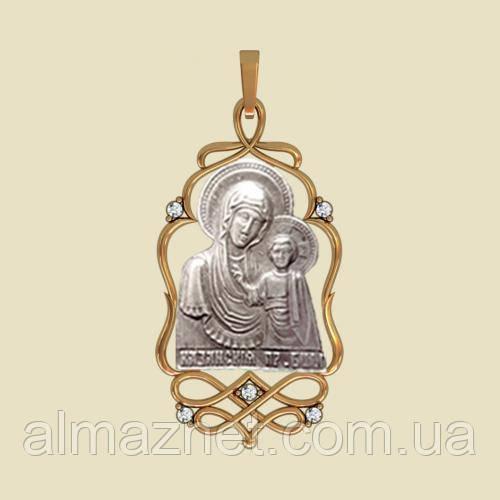 Золотая ладанка Казанская из красного золота