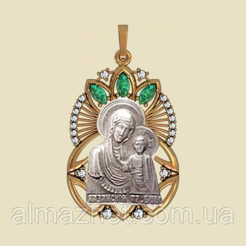Золотая ладанка Казанская из красного золота Божья Матерь