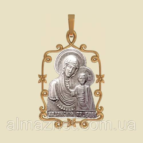 Золотая ладанка Казанская из красного золота без камней