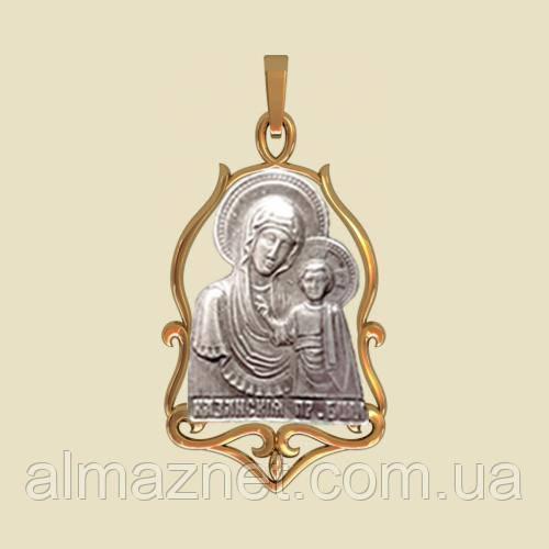 Золотая ладанка Казанская Божья Матерь без камней