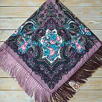 Красивый шерстяной платок для девушек с цветами (110х110см, 80%-шерсть)