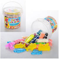 Тесто для лепки 0515 (пластилин для лепки): 16 цветов + 5 формочек
