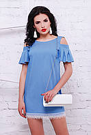 Джинсовое платье с открытыми плечами и кружевом «Хета»