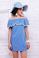 Джинсовое платье с открытыми плечами и помпонами «Марлетт»