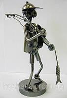Техно-арт статуэтка Рыбак с рыбой, металл 20х14
