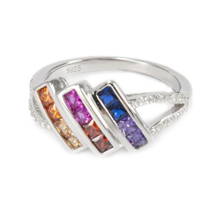 Серебряное кольцо с тремя полосами разноцветных фианитов Арт. RN012SV (16)