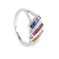 Серебряное кольцо с тремя полосами разноцветных фианитов Арт. RN012SV (16), фото 2