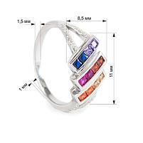 Серебряное кольцо с тремя полосами разноцветных фианитов Арт. RN012SV (16), фото 3