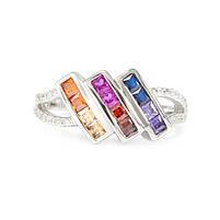 Серебряное кольцо с тремя полосами разноцветных фианитов Арт. RN012SV (16), фото 4