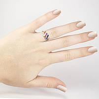 Серебряное кольцо с тремя полосами разноцветных фианитов Арт. RN012SV (16), фото 5