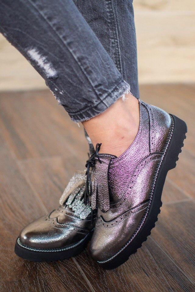 """Очень модные туфли-оксфорды из натуральной кожи """"хамелеон"""""""