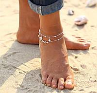 Браслет на ногу серебристый