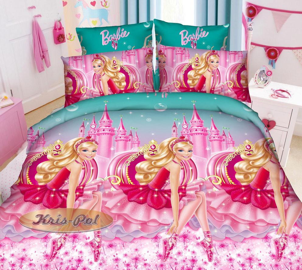 Детское постельное бельё Барби 150*220 хлопок (7098) TM KRISPOL Украина