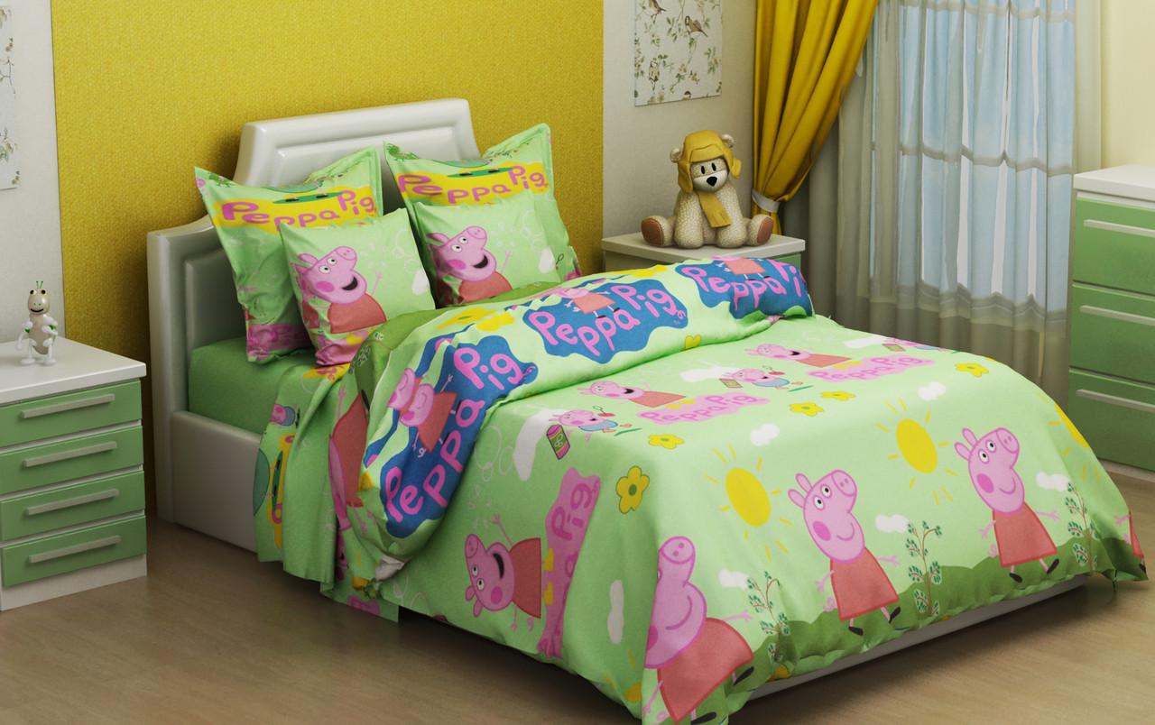 Детское постельное бельё Свинка Пеппа 150*220 хлопок (7252) TM KRISPOL Украина