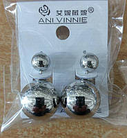Красивые крупные двойные серьги пусеты Ani Vinnie под серебро. 277