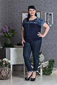 Женская блуза в цветы большого размера