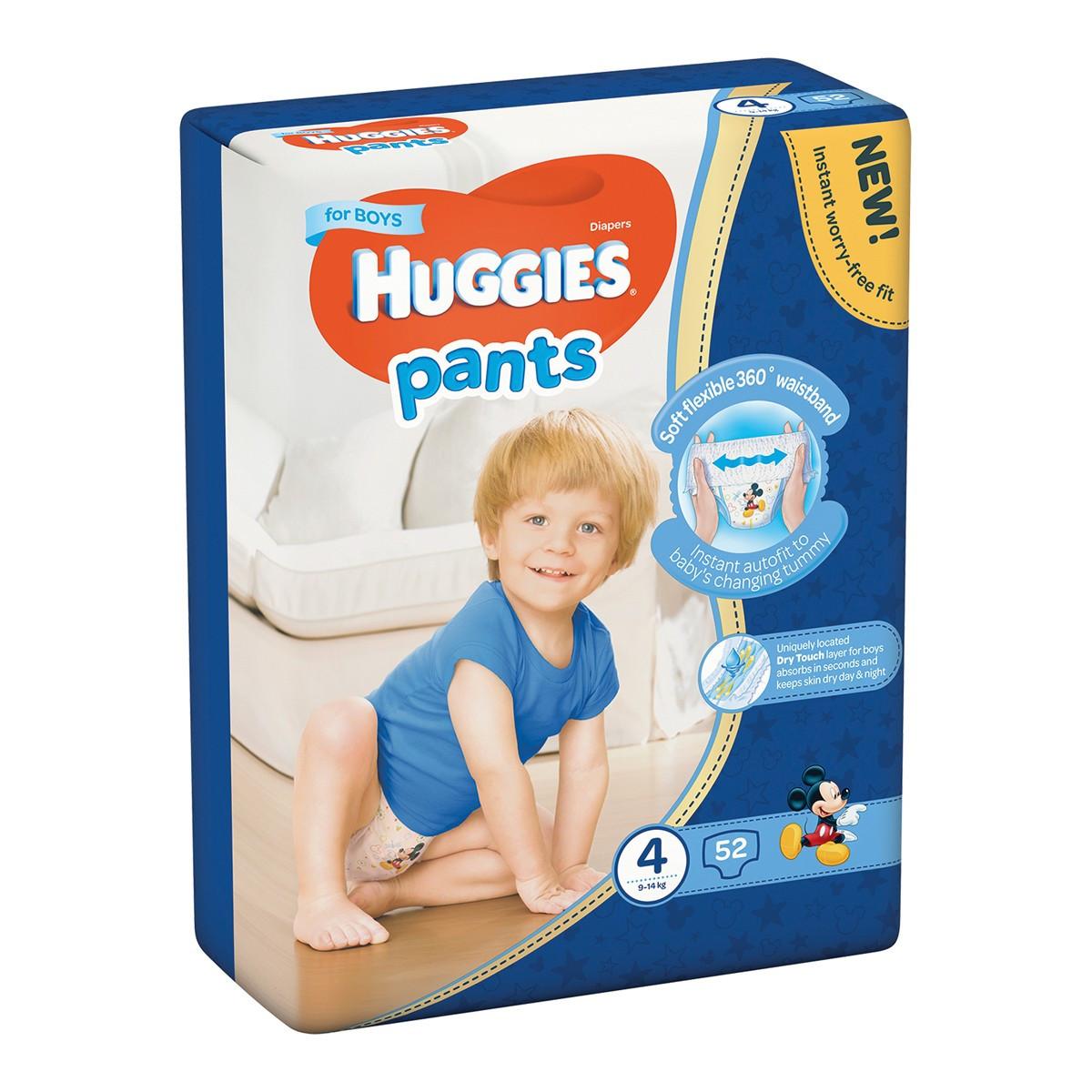 Подгузники-трусики Huggies Размер 4 для мальчиков 9-14 кг, 52 шт