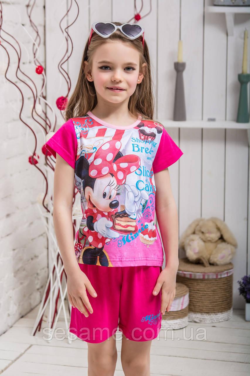 Костюм шорты футболка для девочки микки малиновый