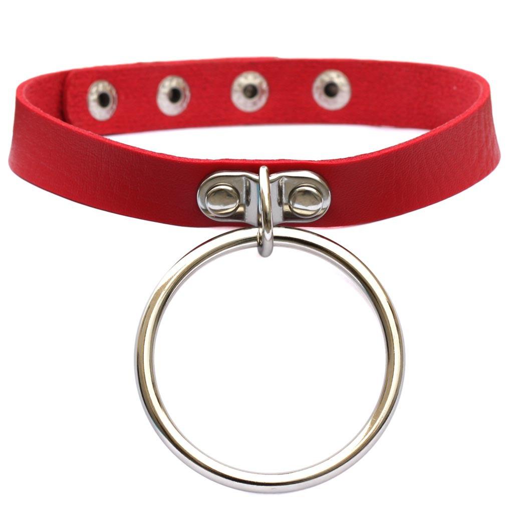 Кожаный ошейник чокер с большим висящим кольцом Красный