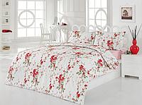 Полуторное постельное белье Nevbahar красное  ранфорс, полуторное