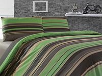 Полуторное постельное белье Green stripes   ранфорс, полуторное