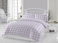 Полуторное постельное белье Mini ekose фиолетовое  ранфорс, полуторное